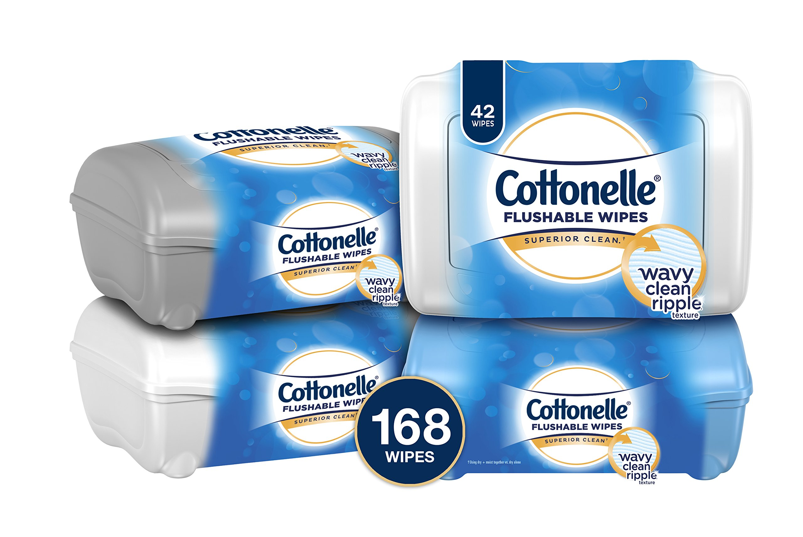 Cottonelle FreshCare Flushable Wipes Refill Tub, 42 Flushable Wet Wipes, Pack of 4