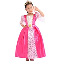 Sincere Party Vestido de Princesa Medieval con Tiara para niñas, Color Rosa 3-4 años