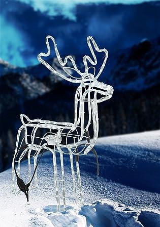 Weihnachtsbeleuchtung Rentier Beweglich.Led Rentier Mit Beleuchtung Leuchtfigur Kopf Beweglich Außenleuchte