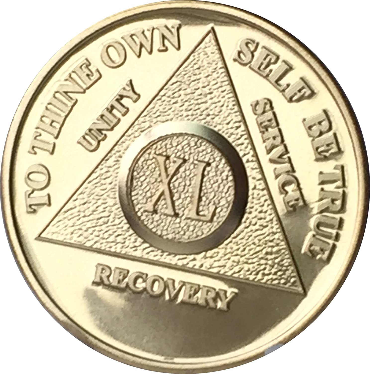 40 Year AA Medallion Blue Gold Plated Alcoholics Anonymous Sobriety Chip Coin XL