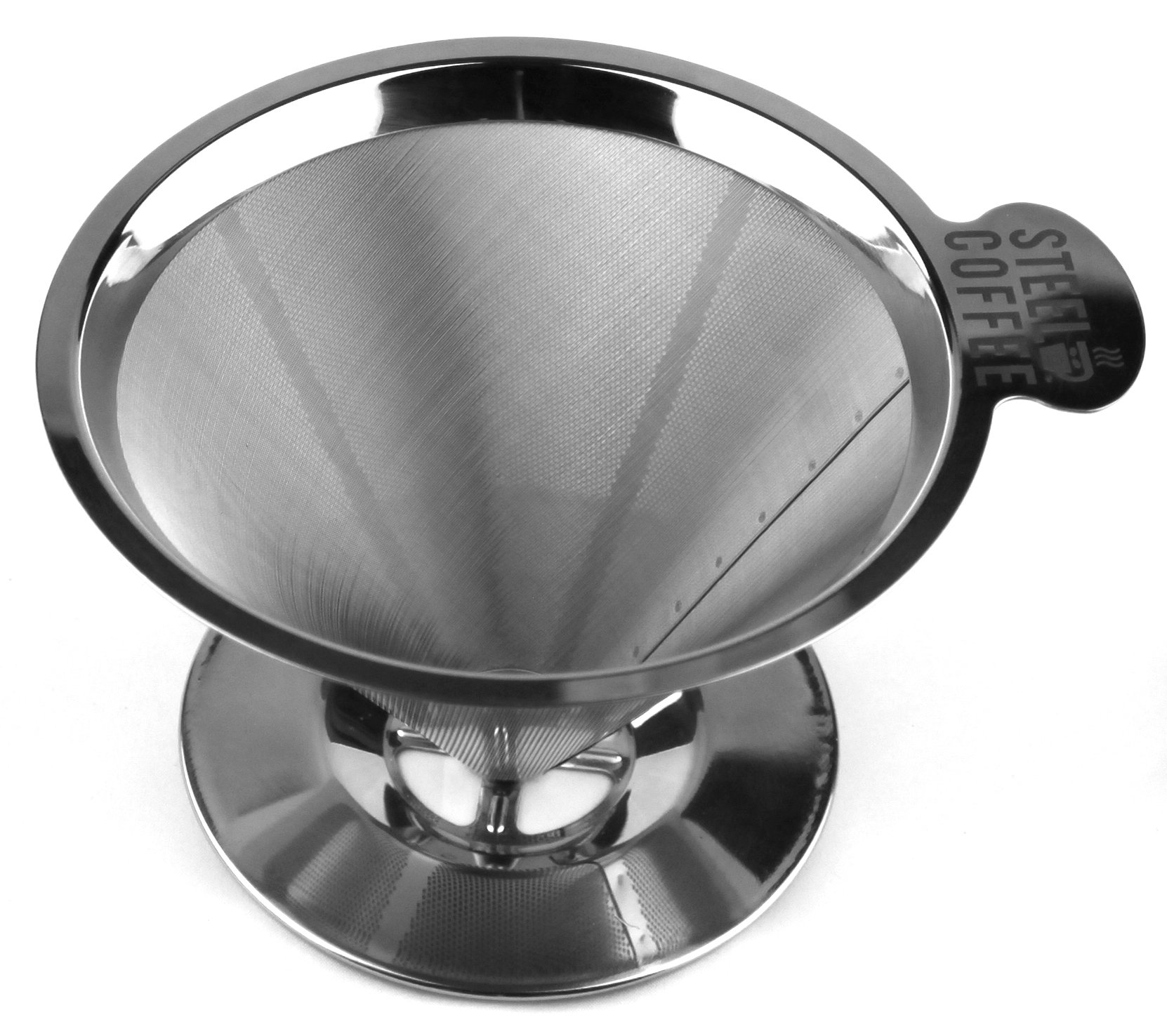 Steel Coffee Reusable Pour Over Coffee Dripper Stainless Steel Filter Coffee Maker Paperless Drip Filter with Handle & Stand for Fresh Brew Dishwasher �