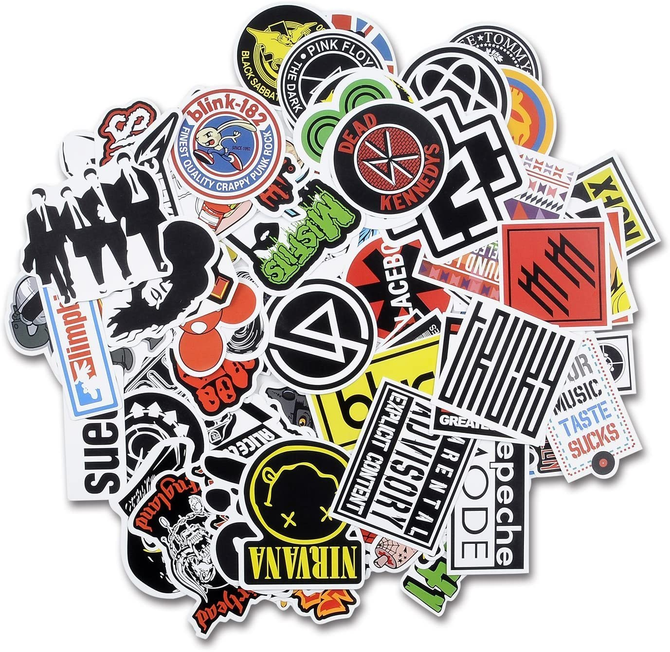 Breezypals Laptop Stickers [100 pcs], Car Stickers Luggage Decal Graffiti Guitar Skateboard Vinyl Stickers for Laptop, Rock and Roll Music Band Stickers- No-Duplicate Sticker Pack