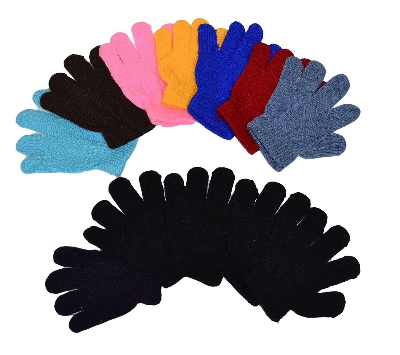 OPT Brand. 12 Pairs Wholesale Kids Children Boys Girls Knit Magic Gloves. G5012
