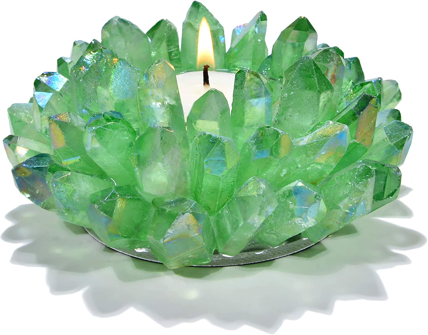 KALIFANO Green Apple Aura Quartz Cluster Crystal Tealight Candle Holder - Decorative High Energy Geode Votive with Healing Effects