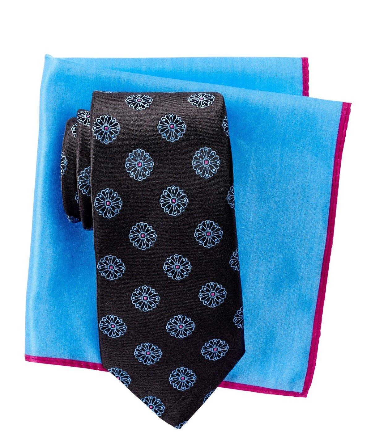 Ted Baker London Men's Floating Flower Silk Tie & Pocket Square Set (Black)