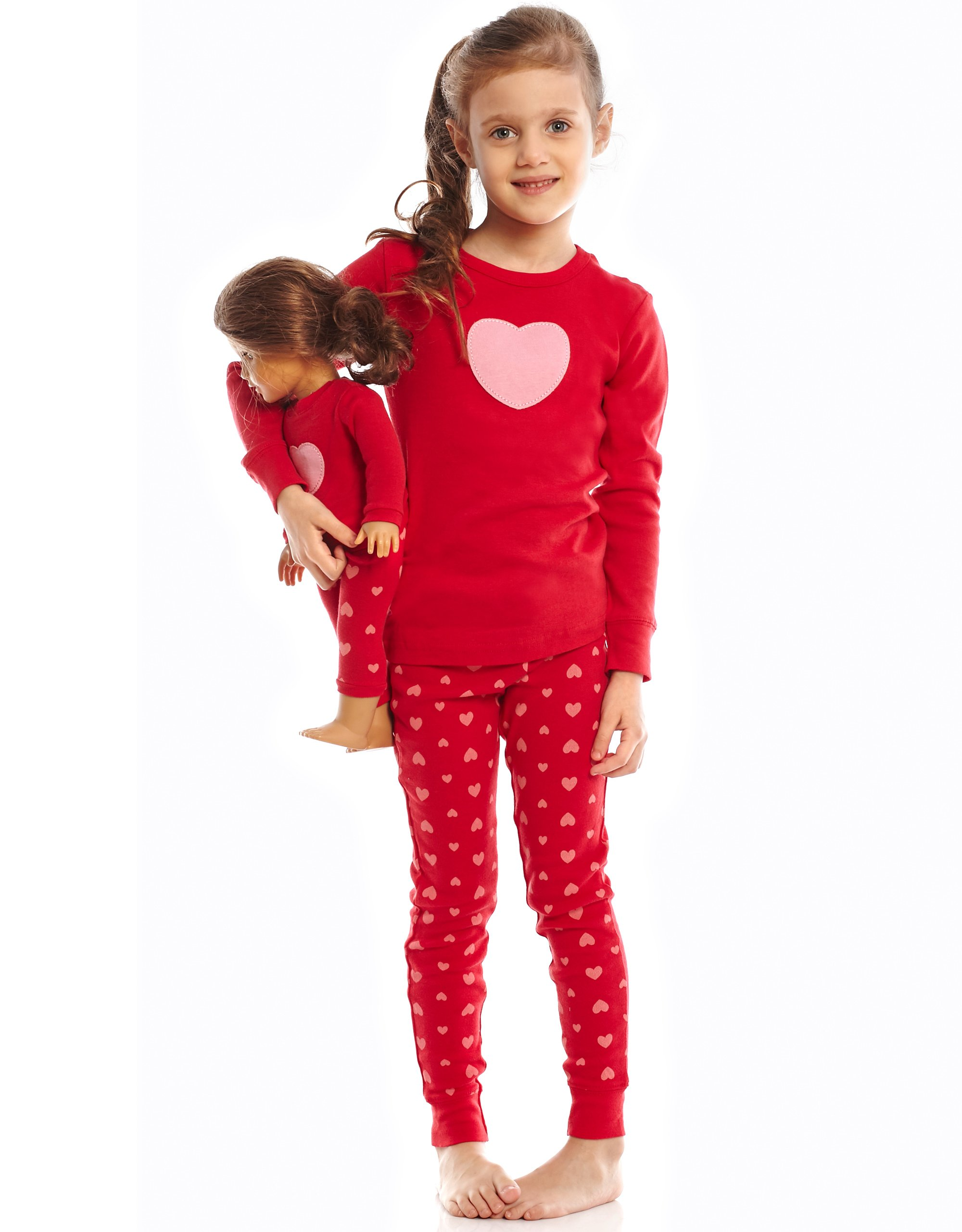 """Leveret Little Girls""""Hearts"""" 2 Piece Matching Kid & Doll Pajama Set (2T-8Y)"""