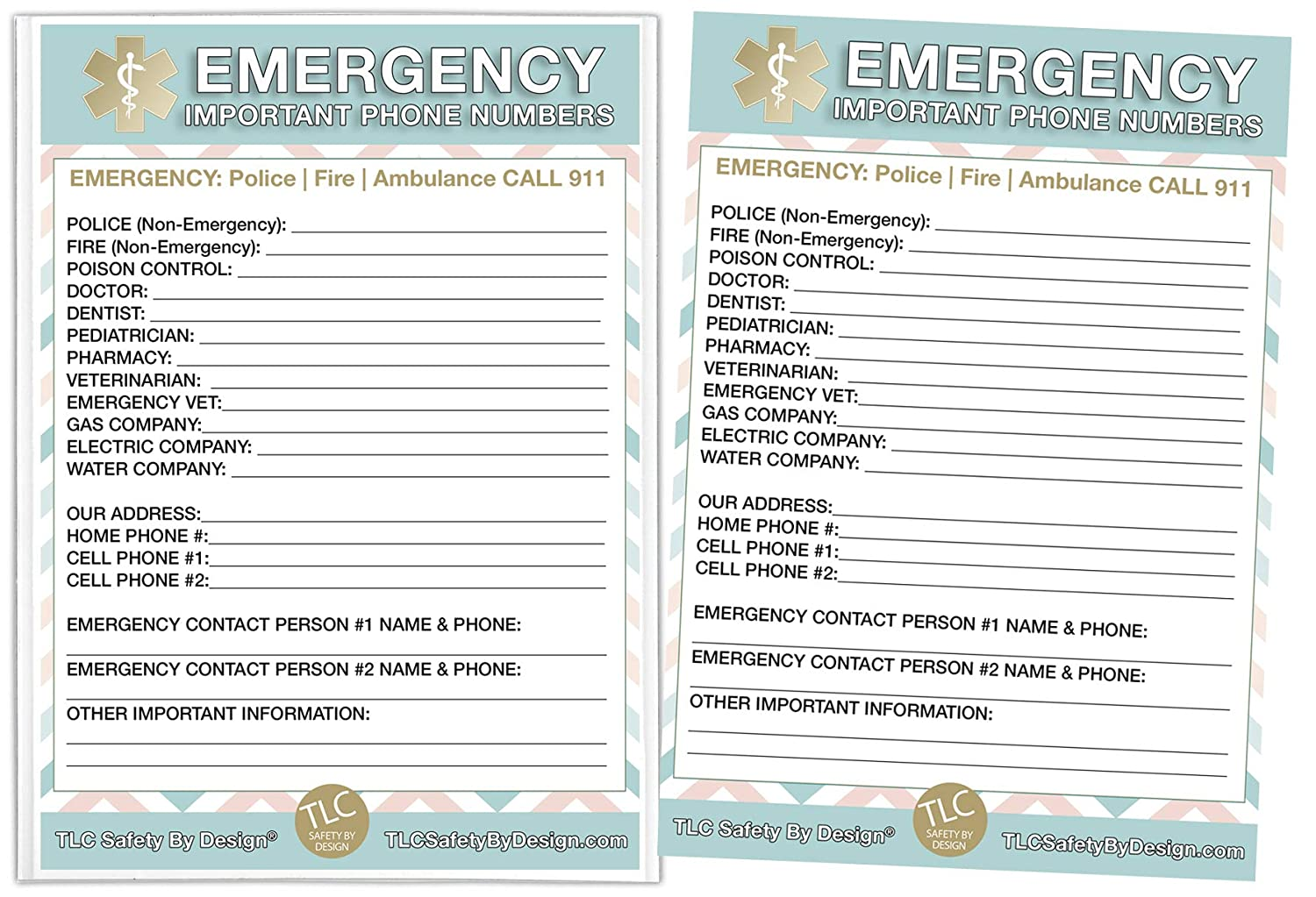 """Emergency Contact Cards in Magnetic Sleeve Home Alone 5"""" x 7"""" Doctor Approved Refrigerator Safety Important Phone Numbers Call List"""