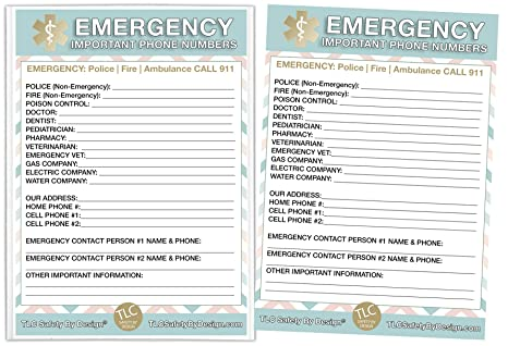TLC Safety By Design Tarjetas de contacto de emergencia en funda ...
