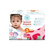 Honest Baby Diapers, Club Box, Rose Blossom & Strawberries, Size 3, 68 Count