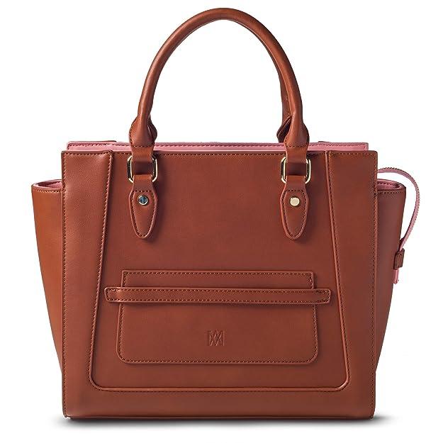 0b99ae66c7a1 Amazon.com  Marsi Bond Designer Womens Handbag - Top Handle Vegan Leather  Tote Purse - Cognac with Pink