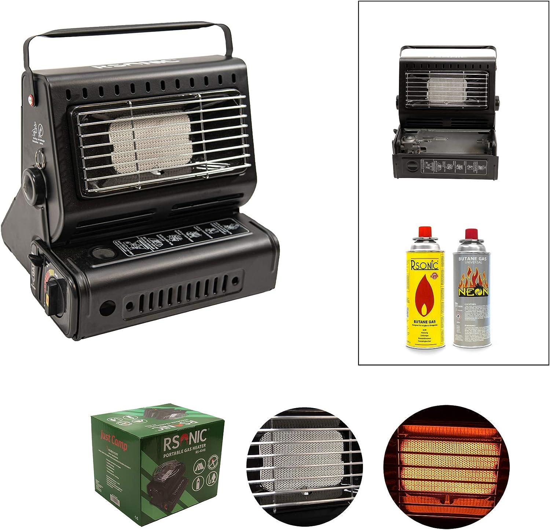 RSonic 1,3 kW, para Exteriores, Camping, Pesca, Mini Calefactor Calentador de Gas port/átil
