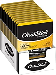 ChapStick Classic (Regular Flavor, 12 Sticks) Skin Protectant Lip Balm Tube, 0.15 Ounce (12 Blister Packs of 1 Stick, 12 Total Sticks)