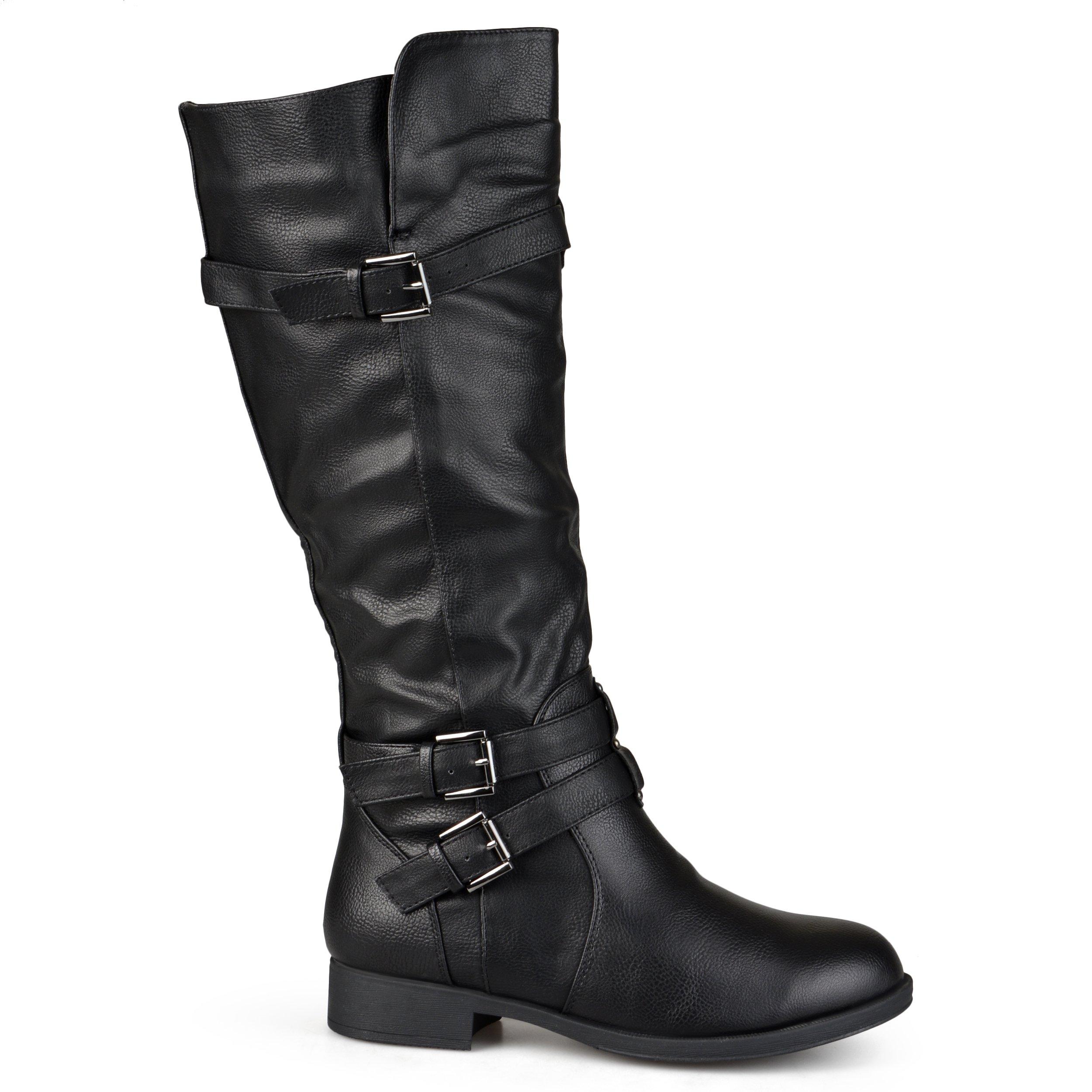 Brinley Co Women's Buffalo Knee High Boot, Black, 9.5 Wide/Wide Shaft US