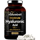 NatureBell Hyaluronic Acid Supplements, 250mg Hyaluronic Acid with 25mg Vitamin C Per Serving, 200 Capsules, Supports Skin Hy