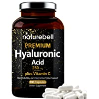 NatureBell Hyaluronic Acid Supplements, 250mg Hyaluronic Acid with 25mg Vitamin C Per Serving, 200 Capsules, Supports Skin Hydration, Joints Lubrication, Antioxidant and Immune System, Non-GMO