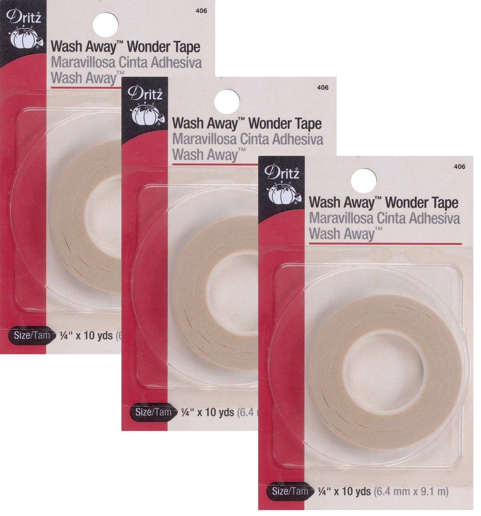 Dritz 406 1/4-Inch by 10-Yard Wash Away Wonder Tape (3 Pack) by Dritz