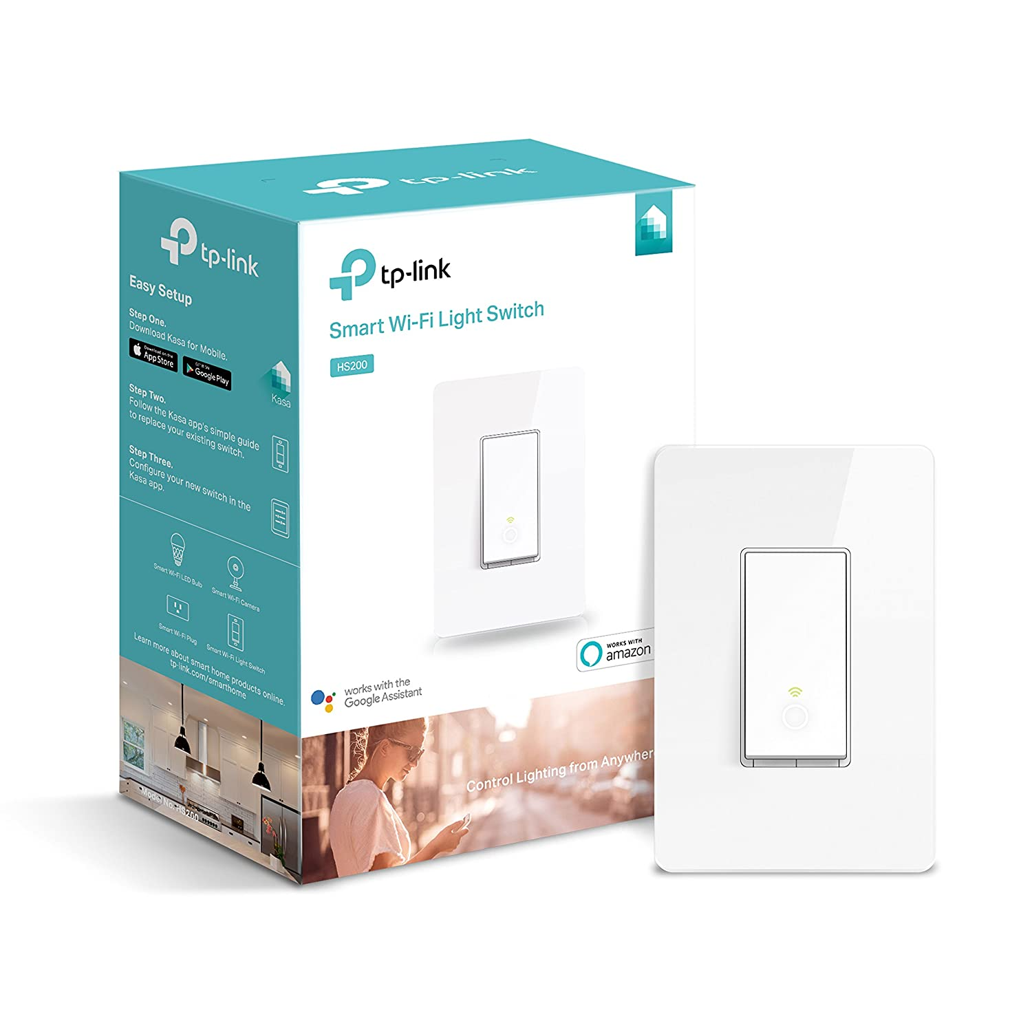 Tp Link Smart Wi Fi Light Switch No Hub Required Single Pole Wiring Wirea3waylightswitchstep Requires Neutral Wire Works With Alexa And Google Assistant Hs200 Tools