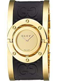 Gucci Twirl Gold Dial Ladies Two Tone Bangle Watch YA112444