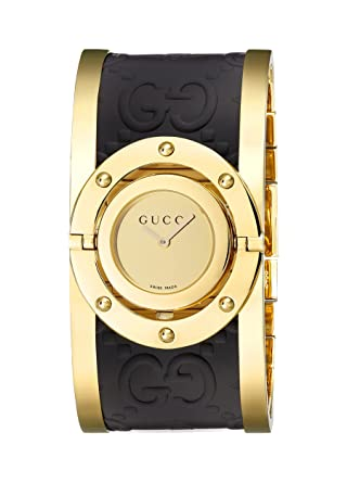 32d7c207048 Image Unavailable. Image not available for. Color  Gucci Twirl Gold Dial Ladies  Two Tone Bangle Watch YA112444