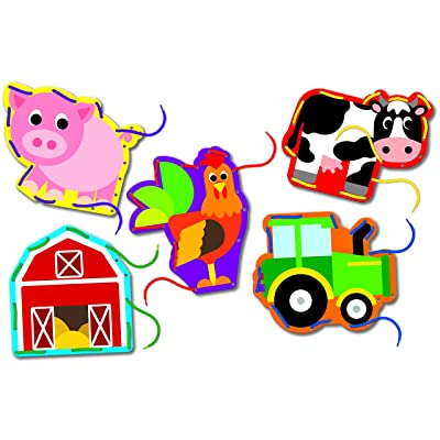 The Learning Journey Lace It! Lacing Cards – On The Farm – Preschool Toys & Gifts for Boys & Girls Ages 3 and Up: Toys & Games