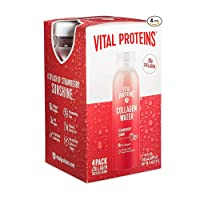 Vital Proteins Collagen Water™, 10g of Collagen per Bottle & Made with Real Fruit Juice, Dairy & Gluten Free - Strawberry Lemon, 4 Pack