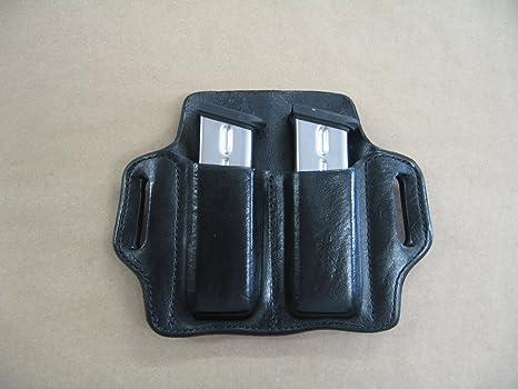 Heckler & Koch H&K P30 9mm  40 Leather 2 Slot Molded Pancake Belt Mag Pouch  BLACK
