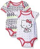 Hello Kitty Baby Girls' 2 Pack Bodysuit Allover Aztec Print, Grey, 3-6 Months