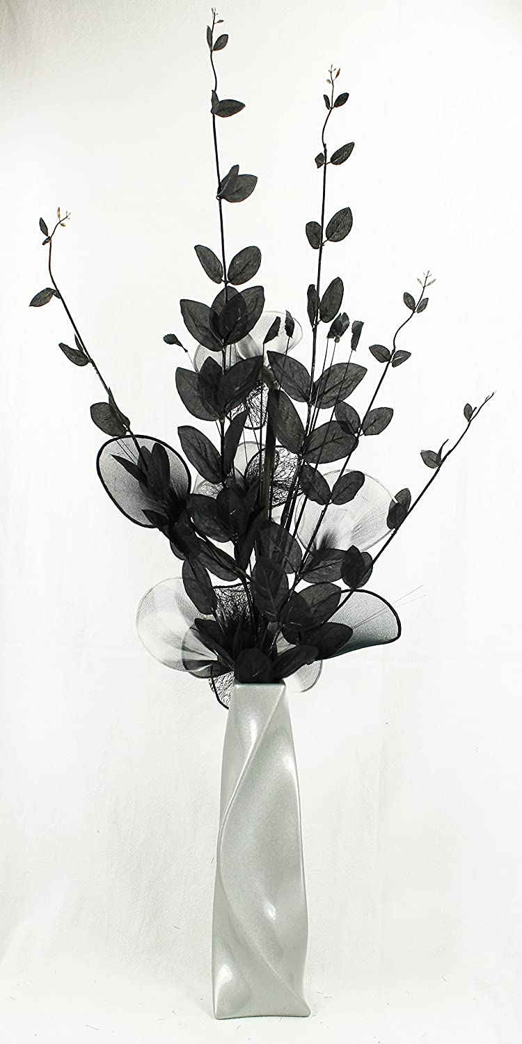 Light Grey Vase With Black And White Artificial Flowers Ornaments