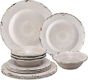 Gourmet Art 12-Piece Crackle Heavyweight and Durable Melamine Dinnerware Set, Cream, Service for 4. Includes Dinner Plates, Salad Plates and Bowls. for Indoors Outdoors Use and Everyday Use