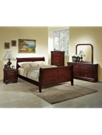 queen bedroom furniture set. Roundhill Furniture Isola 5 Piece Louis Philippe Style Sleigh Bedroom Set  Queen Bed Sets Amazon com
