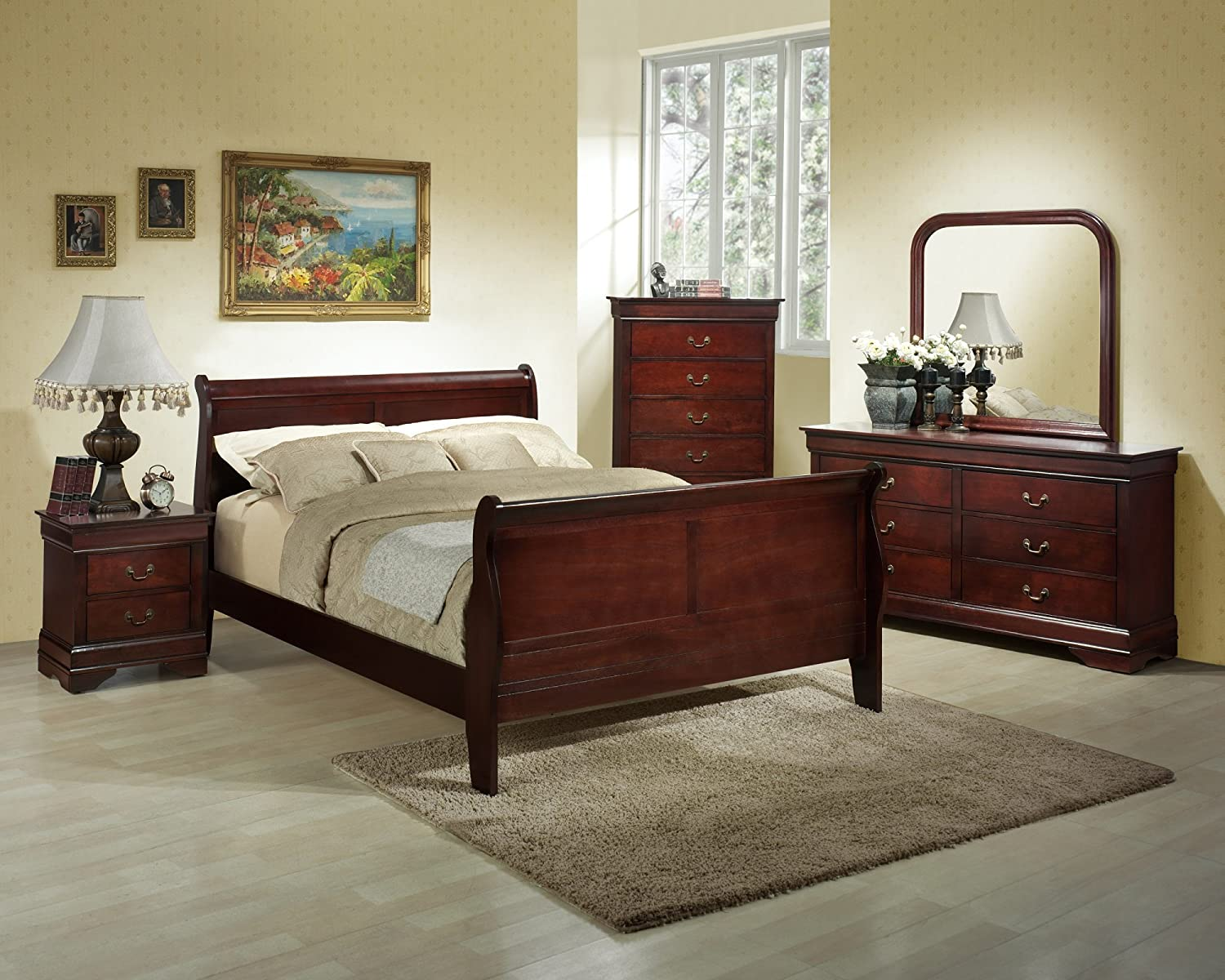 Amazon.com: Roundhill Furniture Isola 5 Piece Louis Philippe Style Sleigh Bedroom  Set, King Bed, Dresser Mirror And 2 Night Stands, Cherry Finish: Kitchen U0026  ...