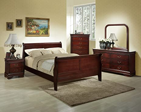 Roundhill Furniture Isola 5 Piece Louis Philippe Style Sleigh Bedroom Set, King  Bed, Nice Ideas