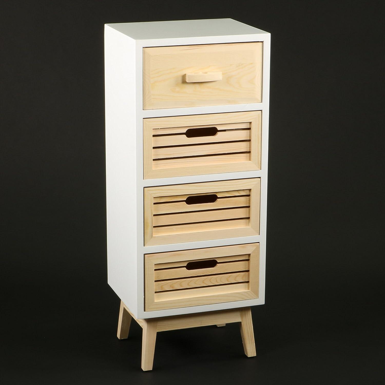 DECOMANIA - Mueble cómoda 4 Cajones – Estilo escandinavo – Colores Blanco y Madera Natural