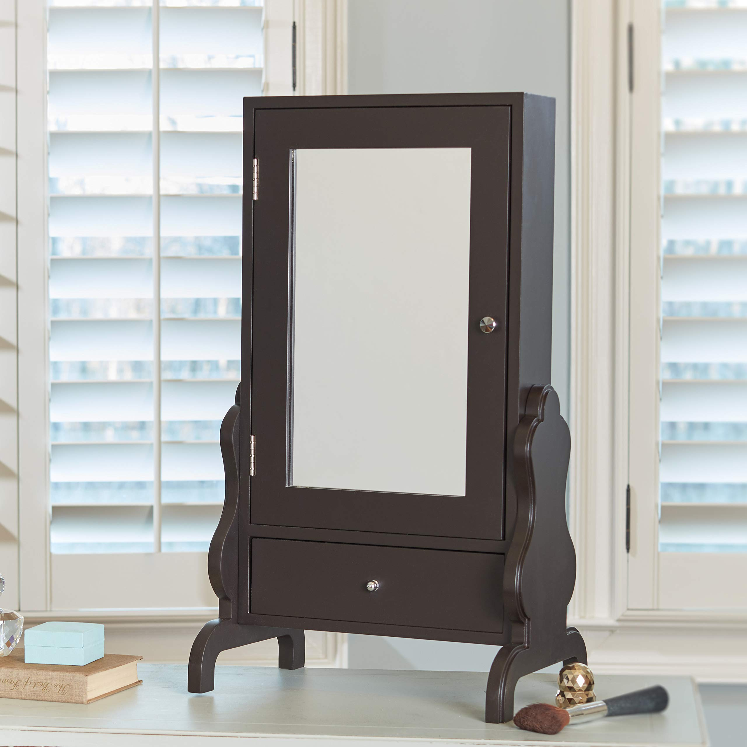 FirsTime & Co. Espresso Tabletop Mirror with Jewelry Storage