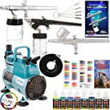 Master Airbrush Multi-Purpose Airbrushing System with 3 Airbrushes, Airbrush Paint Kit with 6 Primary Colors, Color Mixing Wheel, Color Guide and the TC-40 Cool Runner Professional Airbrush Compressor