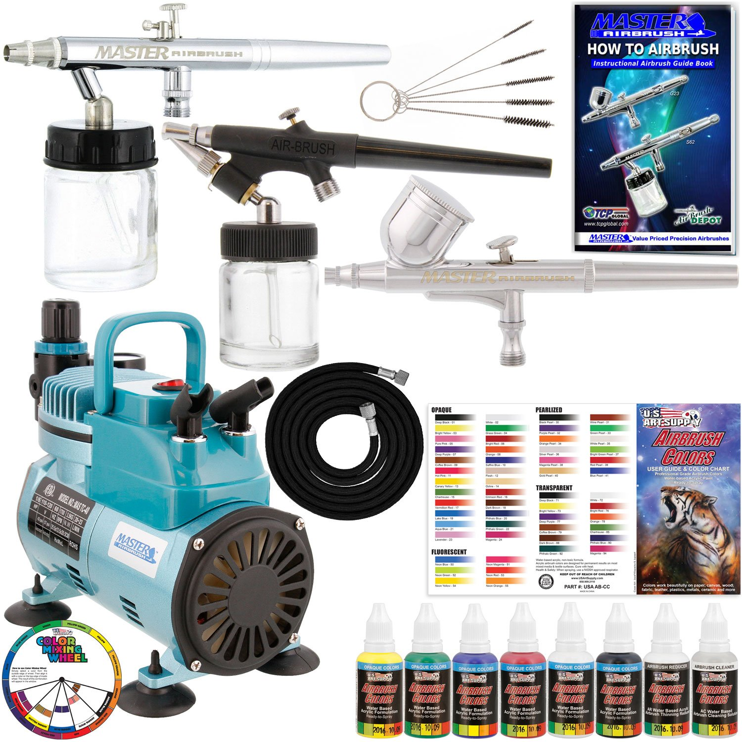 Complete Professional Master Airbrush Multi-Purpose Airbrushing System with 3 Master Airbrushes, U.S. Art Supply Airbrush Paint Kit with 6 Primary Colors, Color Mixing Wheel, Color Guide - Airbrush Models: G22 Gravity Feed, S68 Siphon Feed, E91 Siphon Fee