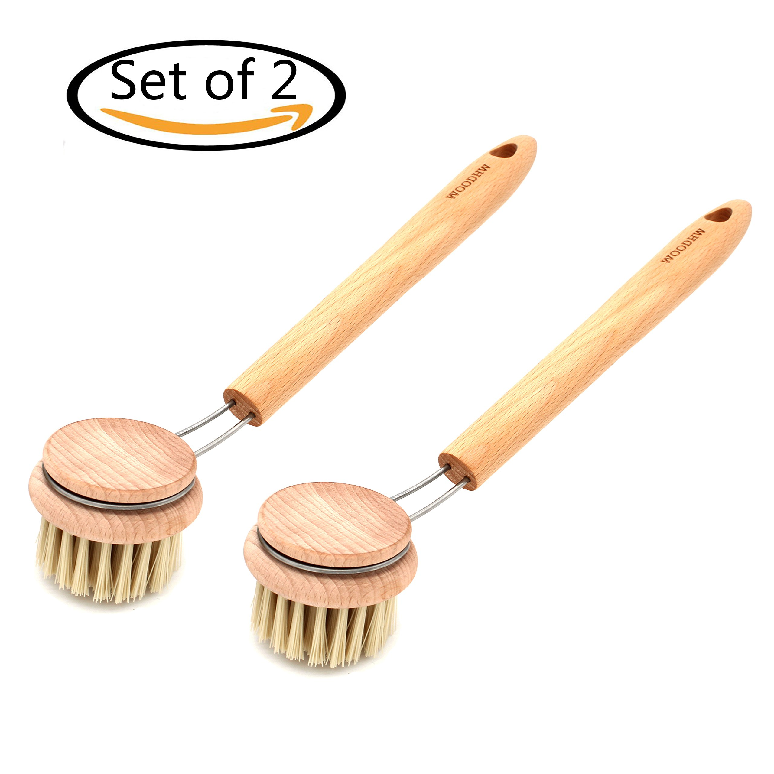 Tueascallk Beech Wood Pan Brush, Household Cleaning Brushes, Length 12.5'', Set of 2