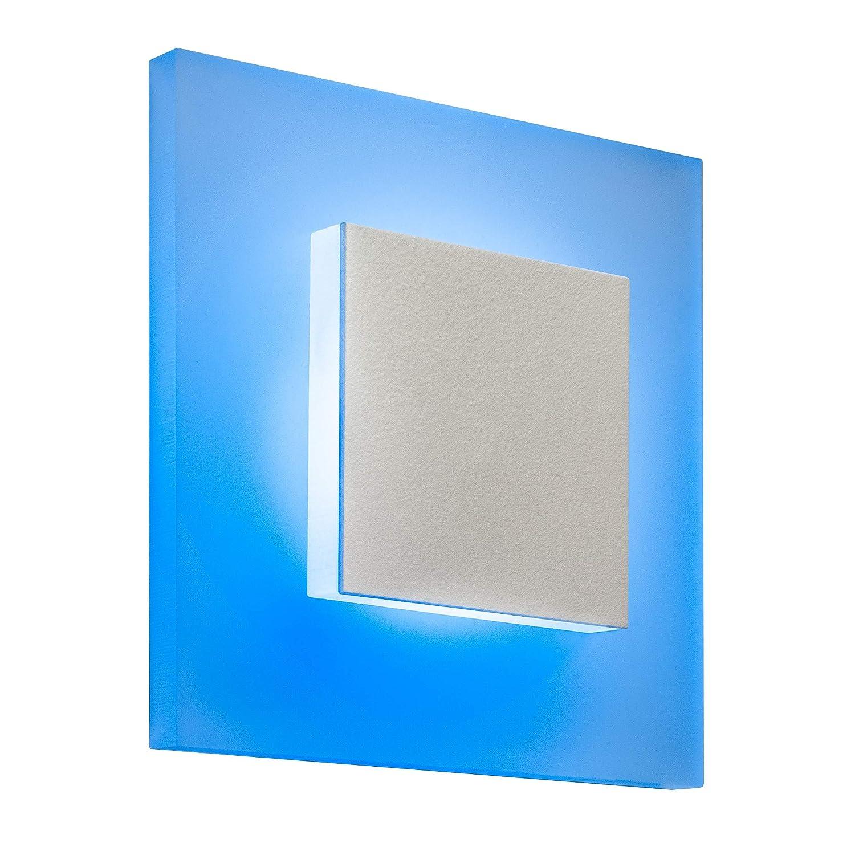 8er SET LED Treppenbeleuchtung Premium SunLED Pyramid Small 230V 1W PlexiGlas Wandleuchten Treppenlicht mit Unterputzdose Treppen-Stufen-Beleuchtung Wandeinbauleuchte (Blau, Alu  Weiß)