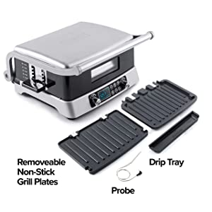 NUWAVE JUBILEE 1800-Watt Double Grill with Flavor-Lock Technology, SEAR at Scorching 525F for PERFECT Grill Marks, Integrated Digital Temp Probe for PERFECT Results, Non-Stick & Removable Grilling Plates for Easy Cleaning,Embedded Heating Coils for Optimal Temp Control and Even Heating, Set Grilling Temps for Top and Bottom Independently, Set & Adjust from 120F to 525F in 5F Increments; Grill 6 Burgers, 4 12oz NY Strip, or 6 8oz Filet Mignon, No Defrosting - Cook from Fresh or Frozen