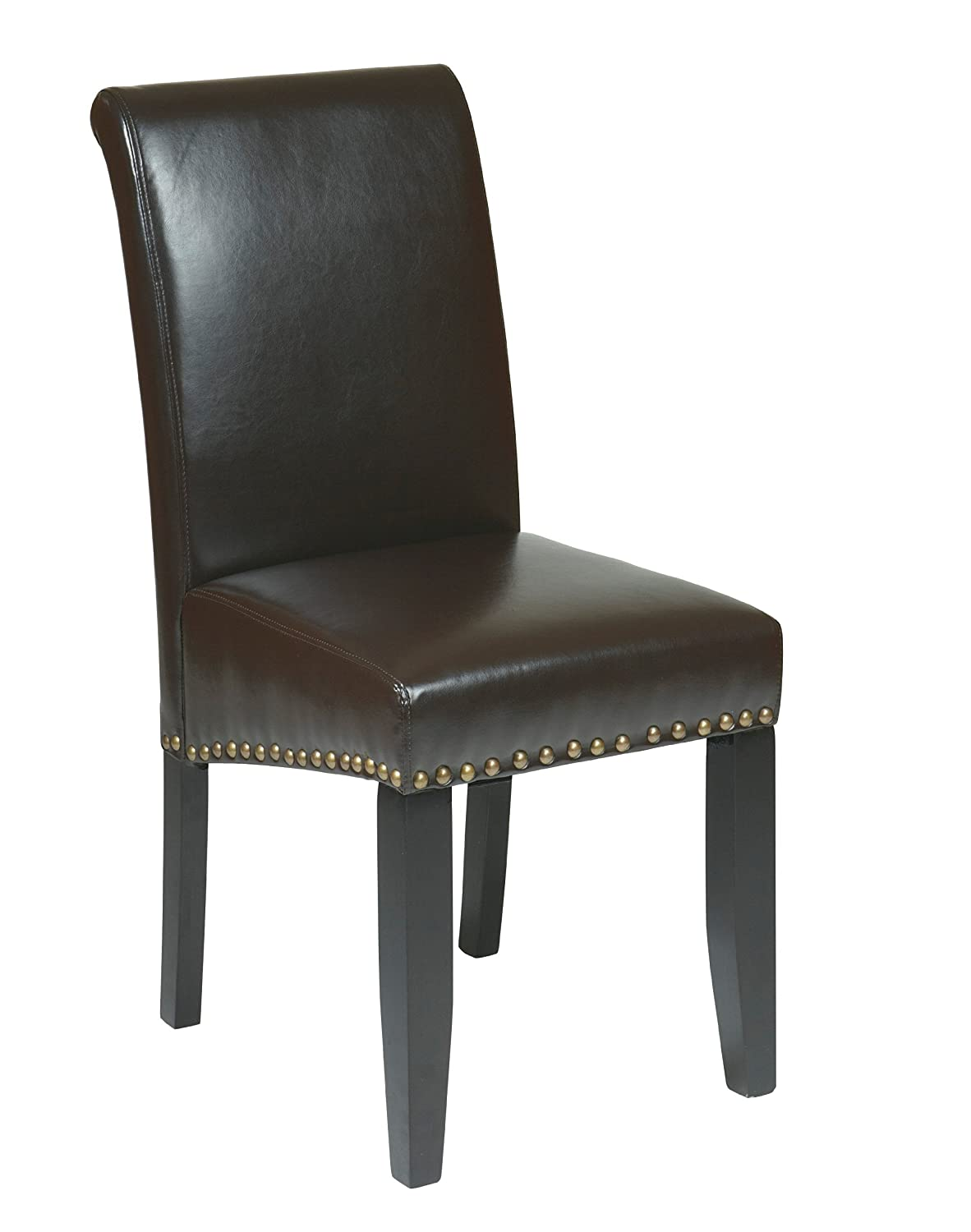 OSP Designs Metro Bonded Leather Parson's Accent Dining Chair with Nail Heads, 20-inch, Espresso