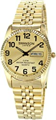 Swanson Mens Gold Day-Date Large Numbers Watch