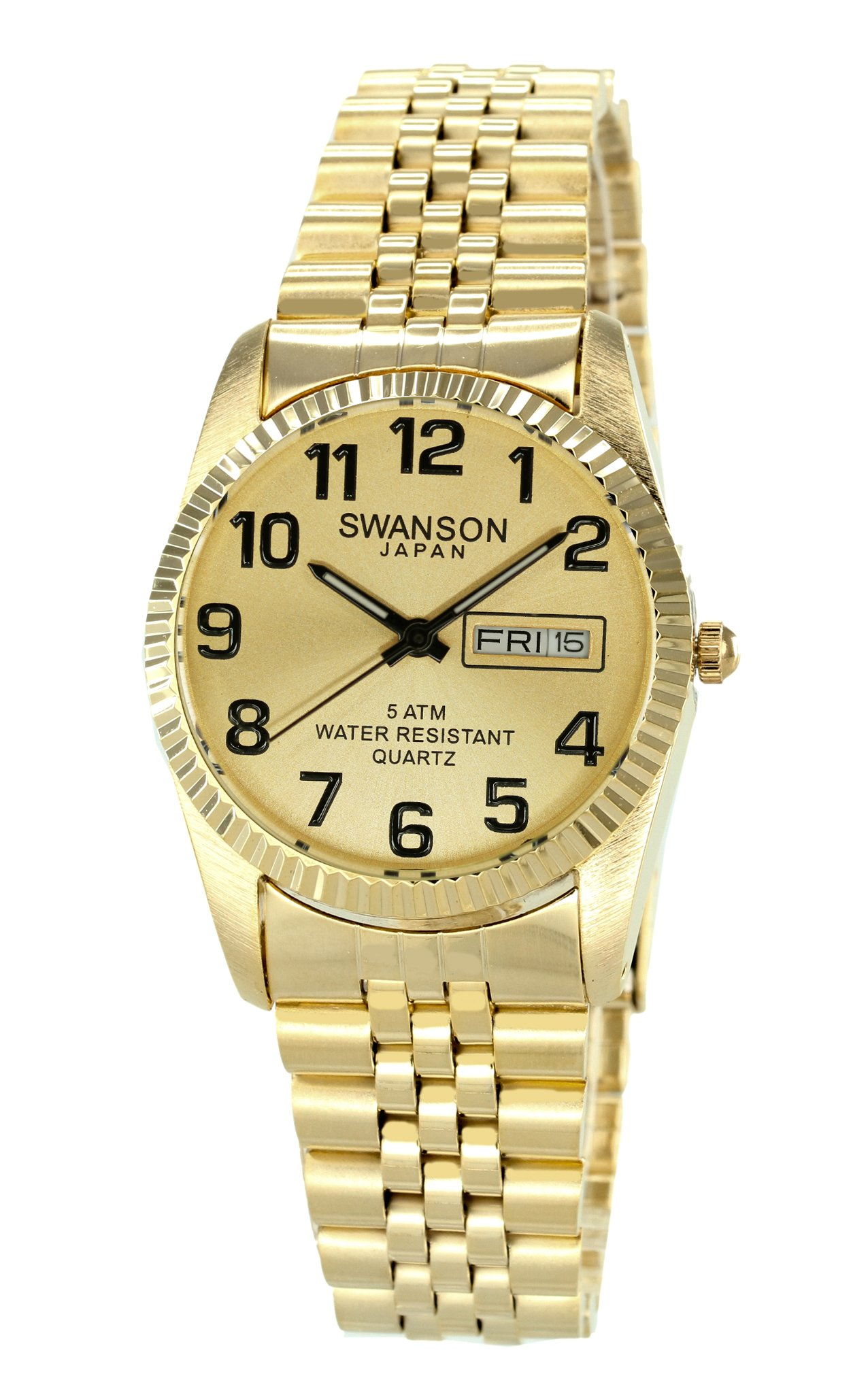 Swanson Men's Gold Day-Date Large Numbers Watch & Zipper Travel Gym Case