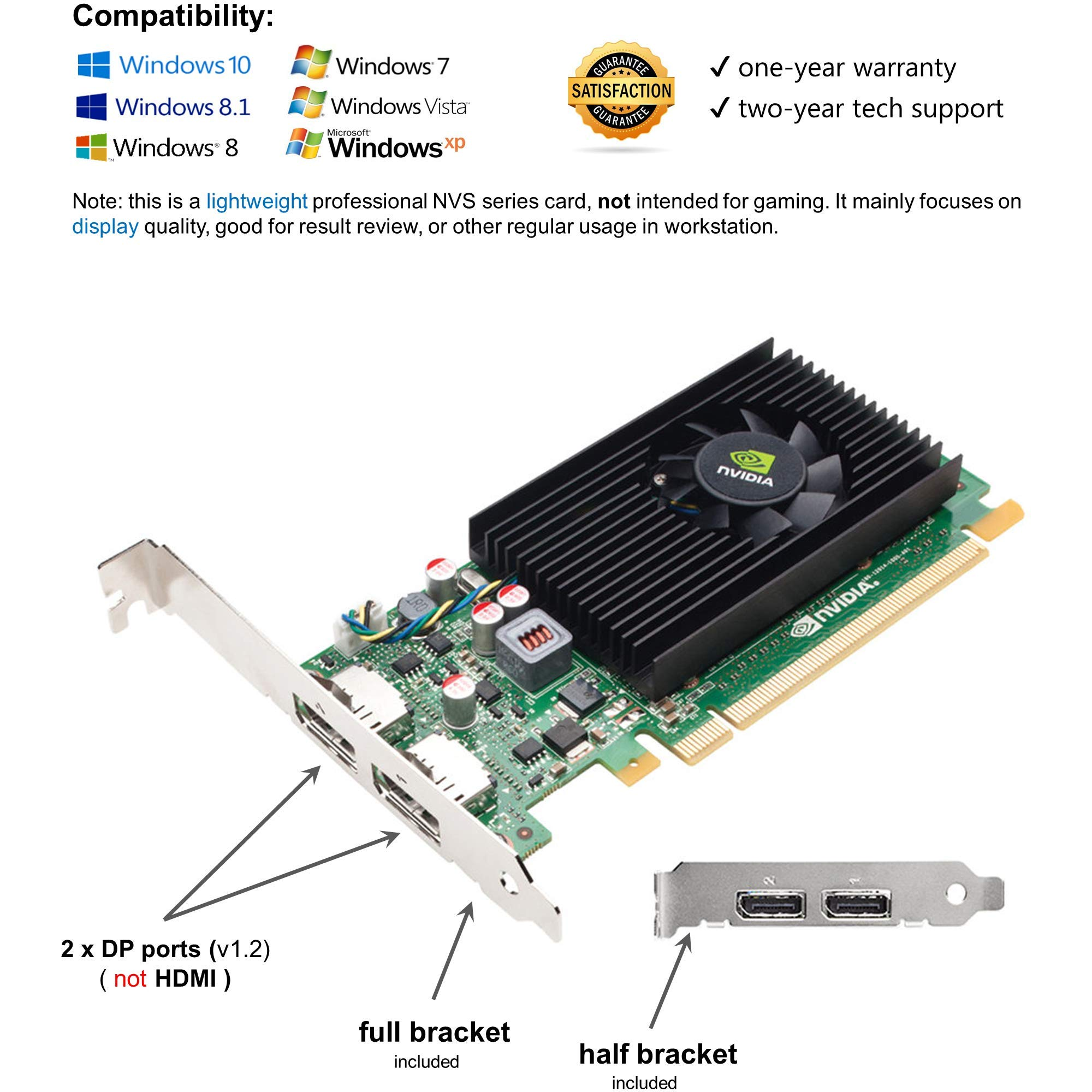 Epic IT Service - Nvidia Quadro NVS 310 with Dual displayports, Both Half and Full Size Brackets for Both SFF or Regular Full Size Computer(1 Year Warranty) by Epic IT Service