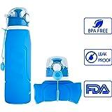 iKiKin Faltbare Wasserflasche, Medizinisches Silikon Trinkflasche, BPA Frei, Lecksichere Faltbare Sportflasche für Sport, Outdoor, Reisen, Camping, Picknick (1000ml 1L 35 oz)