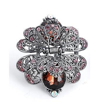 COOCOl Charm Ancient Silver Metal Crab Claw Clip For Women Vintage  Rhinestone Crystal Flower Hair Clip 7537a8e2c7a4