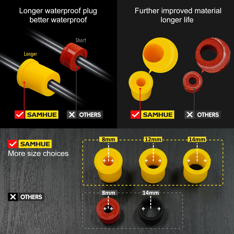Acoplamiento exterior paquete de 2 exterior impermeable Caja de empalme de conector de cable el/éctrico de 4 v/ías /Ø 4mm-14mm