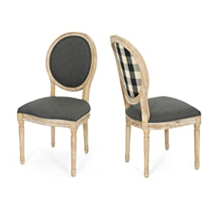Christopher Knight Home Reed Upholstered Farmhouse Dining Chairs, Black Checkerboard and Dark Gray (Set of 2)