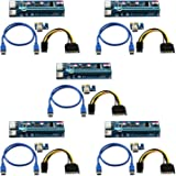 6 Pack 6-Pin Powered PCI-E PCI Express Riser - VER 006C - 1X to 16X PCIE USB 3.0 Adapter Card - With USB Extension Cable - GPU Graphic Card Crypto Currency Mining