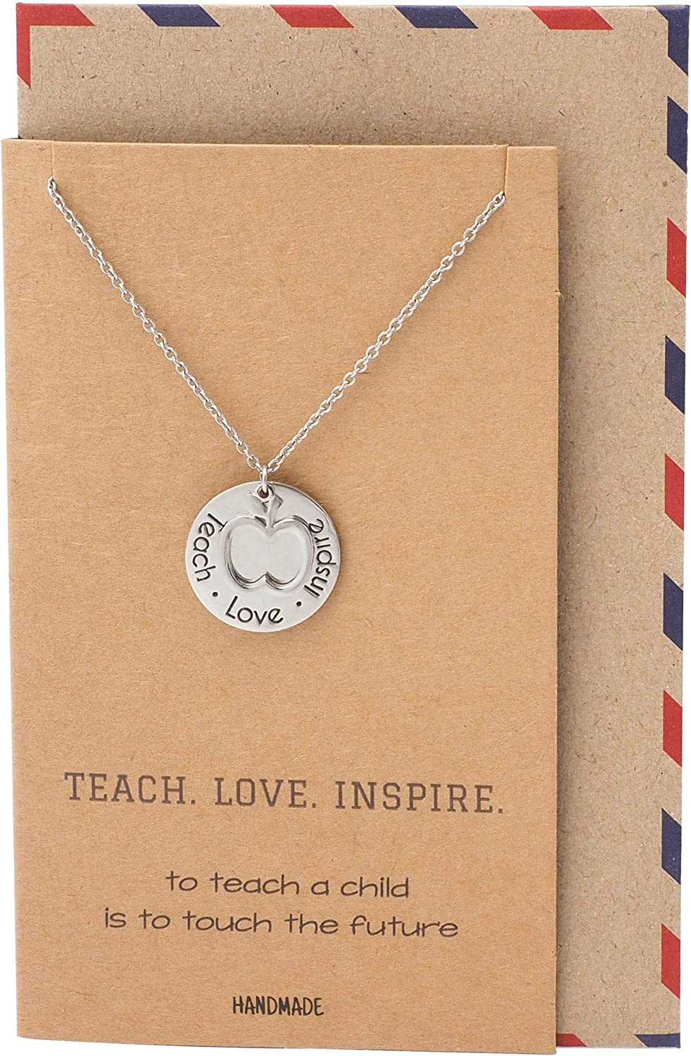 Quan Jewelry Teacher Necklace, Apple Jewelry, Teacher Gifts, Motivational Appreciation Charm, Necklace for Women, Teach Love Inspire Collection : Silver Tone