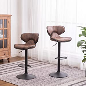 Roundhill Furniture Masaccio Weathered Brown Upholstery Airlift Adjustable Swivel Barstool with Chrome Base, Set of 2